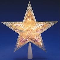 "10"" Lighted Silver Star Clear Christmas Tree Topper - Clear Lights"