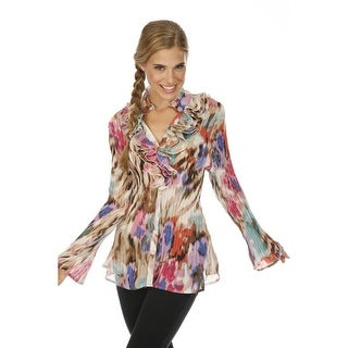 Cathaya Women's Multi Color Mix Print Ruffled Pleated Plus Size Shirt