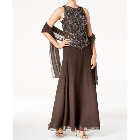 J Kara Gray Women's Size 12 Embellished Popover Sheath Dress
