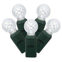 "Set of 100 Pure White LED G12 Berry Christmas Lights 4"" Spacing - Green Wire"