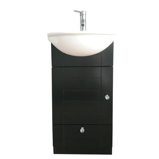Small Bathroom Vanity White Sink Black Square Cabinet Wall Mount