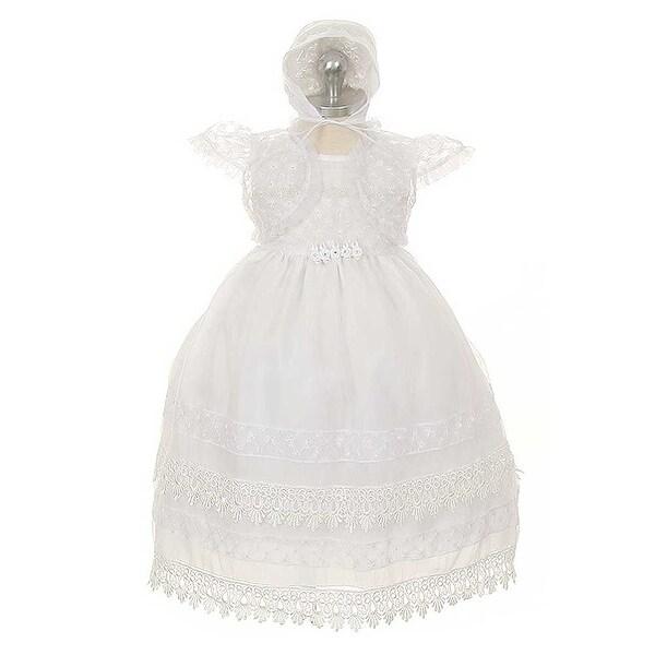 Rain Kids White Organza Floral Baptism Dress Baby Toddler Girl 6M-4T