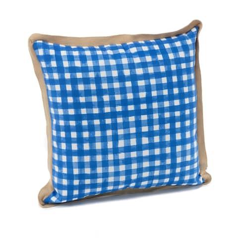 """Terrasol Picnic Check Cobalt Indoor/Outdoor 22"""" Toss Pillow with Jute Trim"""