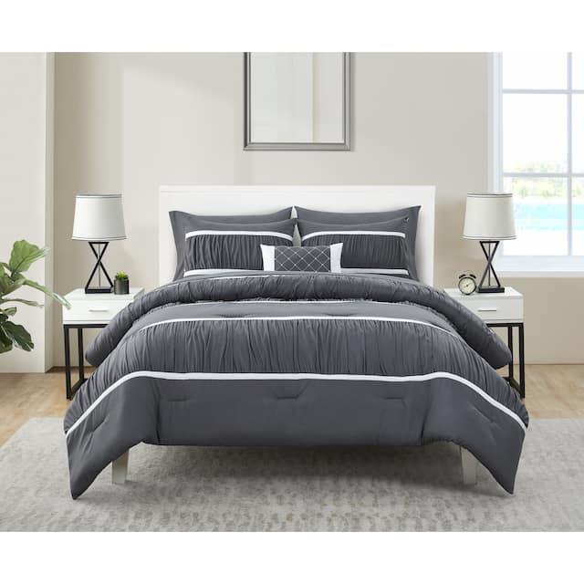 Trisha Grey Ruched Bed-in-a-Bag Comforter Set - King - Grey