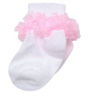 Piccolo Baby Girls White Pink Ruffled Ankle Trim Ribbed Cuff Socks 3-4.5
