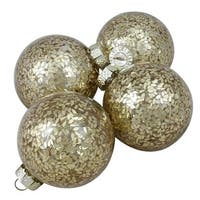 "4-Piece Set of Gold Seed Patterned Shiny Glass Ball Christmas Ornaments 4"" (100mm)"