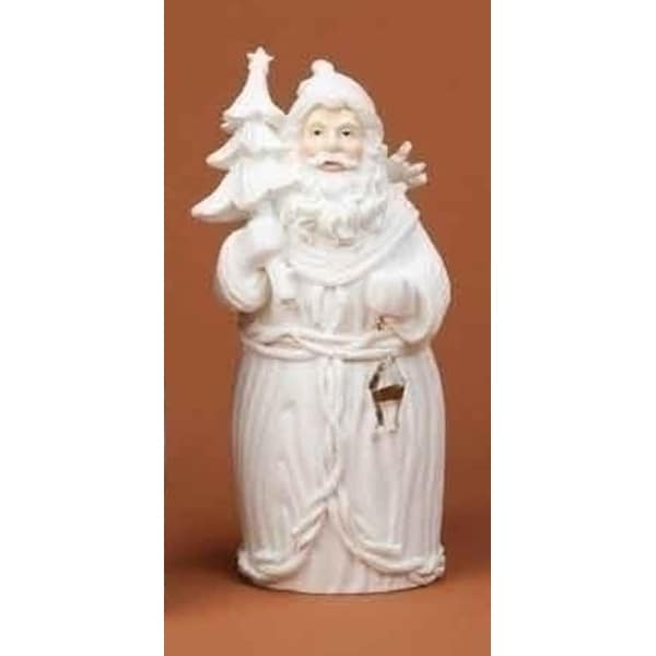 "8"" Winter's Beauty Santa Claus with Tree White Christmas Figure"