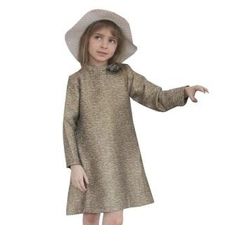 A.Bird Girls Gold Patterned Rosette Adorned Stylish Jess Dress