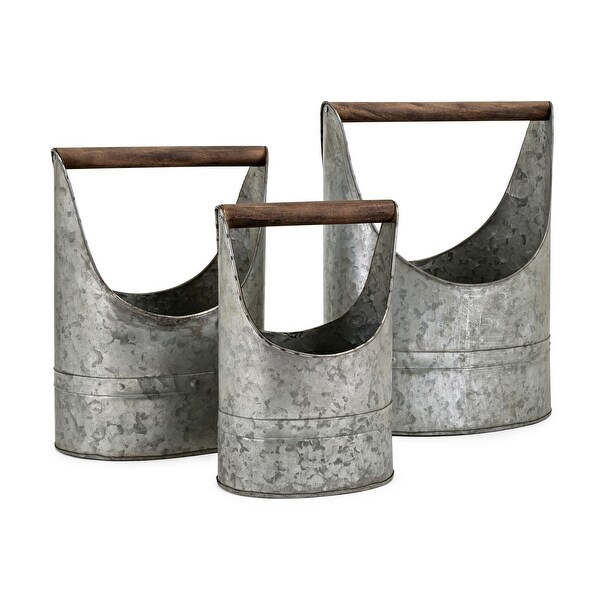 IMAX Home 60287-3 Three Piece Iron Planter Set with Fir Wood Handles - Gray