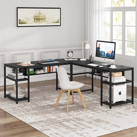 L-Shaped Computer Desk with Storage Shelf, Study Table