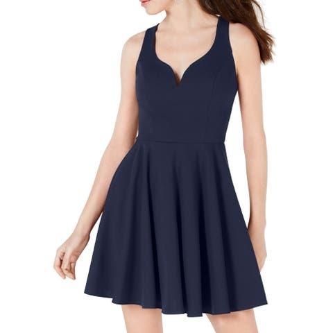 B. Darlin Navy Blue Size 6 Junior A-Line Dress Fit & Flare Pleated