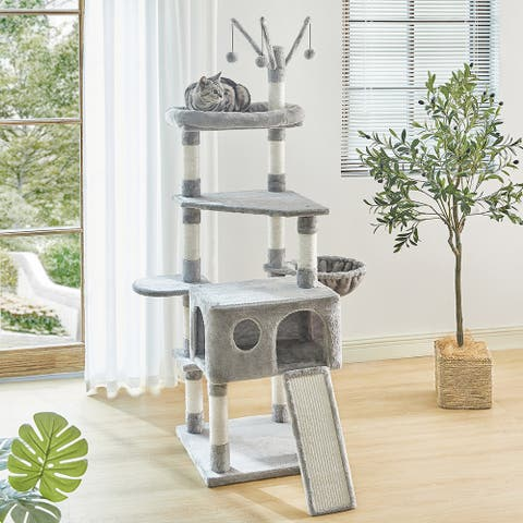 67.7 Inches Cat Tree 6 Levels Cat Tower House w/Sisal Scratching Posts