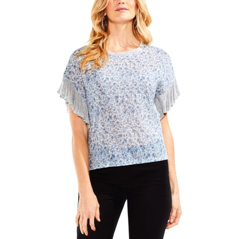 Vince Camuto Womens Pullover Top Mixed Media Ruffle Sleeves