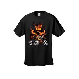 Men's T-Shirt Biker Skull Flames Motorcycle Skeleton Rider Grim Reaper Chopper