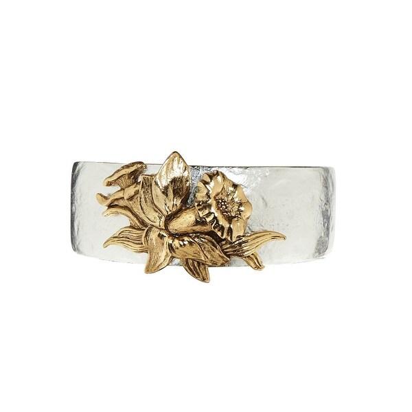 Women's Birth Month Flower Pewter Cuff Bracelet - March - Silver