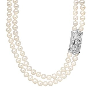 Freshwater Pearl & Swarovski elements Zirconia Double-Strand Necklace in Sterling Silver