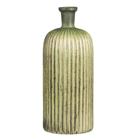A&B Home Tall Short Necked Vase With Shiny Metalic Green