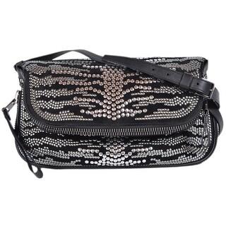 Tom Ford Black Suede Studded Jennifer Spine Crossbody Purse Bag