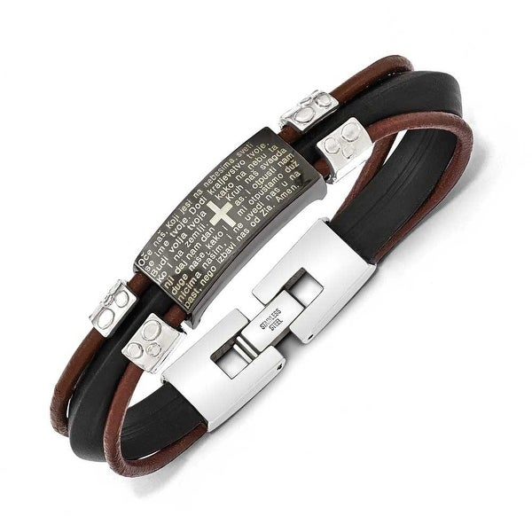 Chisel Stainless Steel Polished Black IP, Rubber & Leather Croation Prayer Bracelet