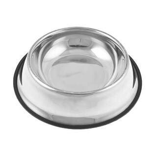 "Nonslip Rubber Stainless Steel Cat Pet Dog Water Food Bowl 2.4"" Depth"