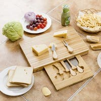 Costway 5 PC Cheese Board Knife Set Stainless Steel Knife Slide Out Bamboo Cutting Board