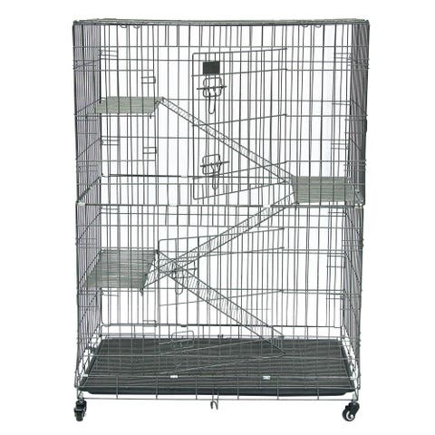 Folding Collapsible Pet Cat Wire Cage Indoor Outdoor Playpen Vacation