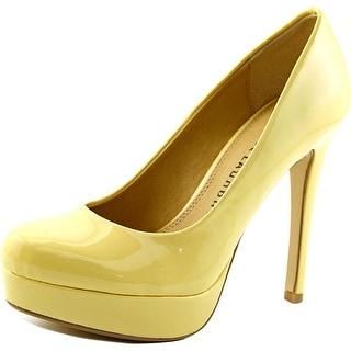Chinese Laundry Wonder Women Open Toe Synthetic Yellow Platform Heel