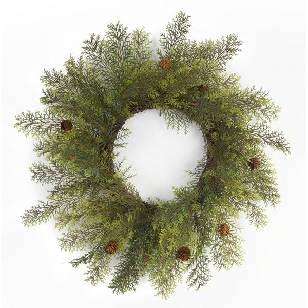 Pack of 2 Unique Wispy Artificial Green Cypress Christmas Wreaths with Pine Cones 24""