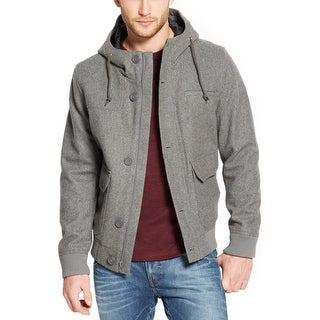 American Rag Wool Blend Hooded Bomber Jacket Pewter Grey Heather Small S