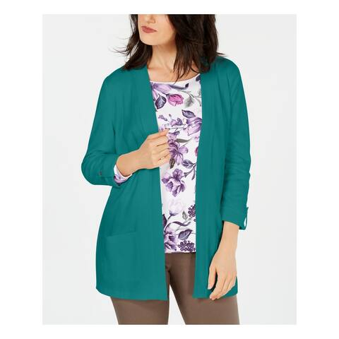 KAREN SCOTT Teal Long Sleeve Blouse Sweater XS