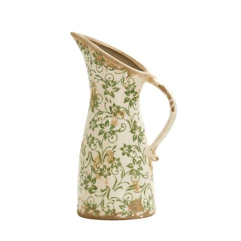 "6.5"" Tuscan Ceramic Green Scroll Pitcher Vase"
