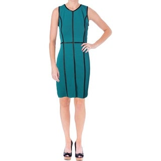 Calvin Klein Womens Ribbed Knit Sleeveless Wear to Work Dress - S
