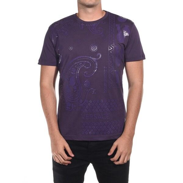 Versace Jean Couture Cotton Paisley Graphic T-Shirt Purple