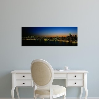 Easy Art Prints Panoramic Image 'City skyline at night, view of Manhattan from Long Island, New York City' Canvas Art