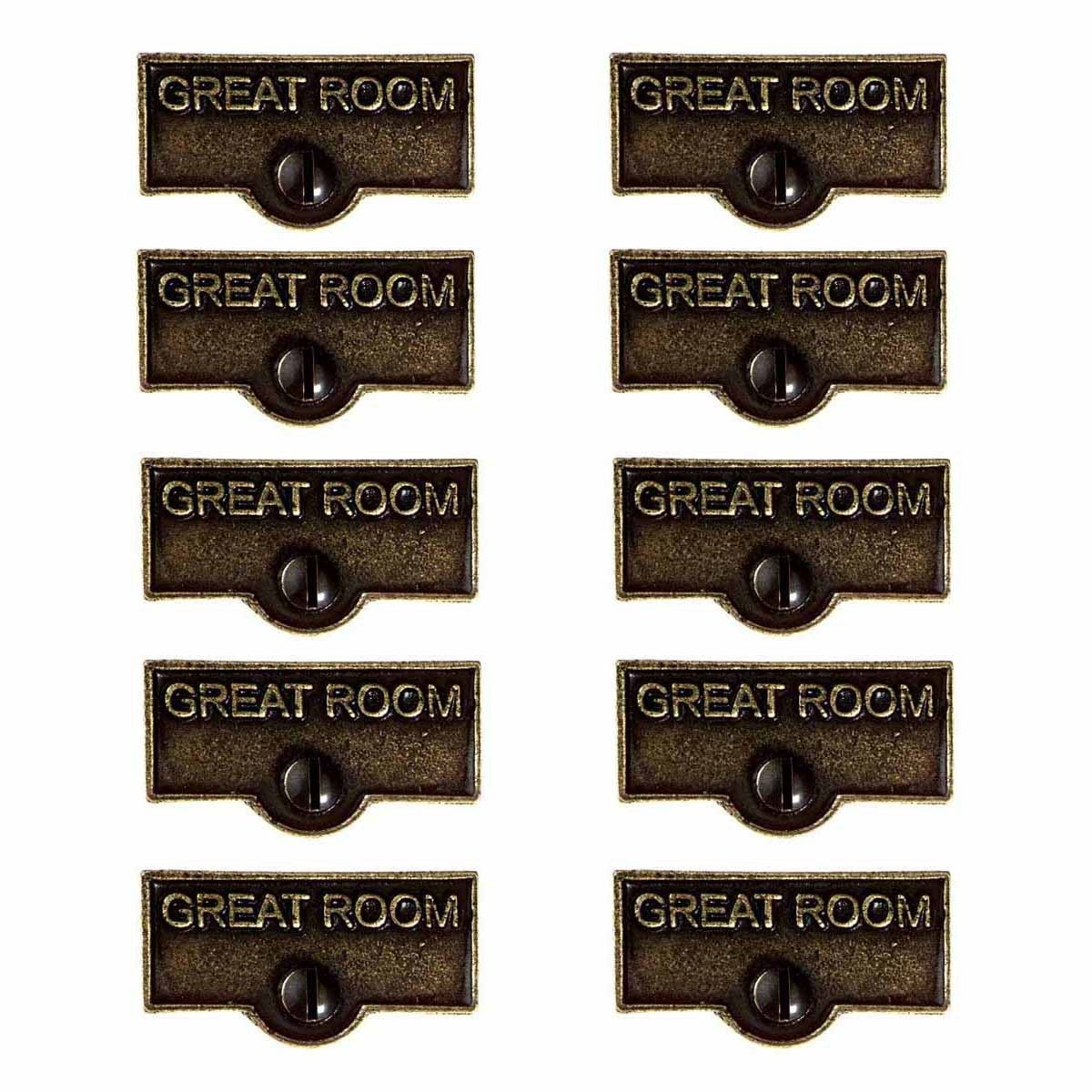 10 Switch Plate Tags Great Room Name Signs Labels Cast Brass Renovator S Supply Overstock 13301201