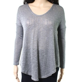 Lush NEW Light Gray Womens Size Small S Open-Knit Scoop Neck Sweater
