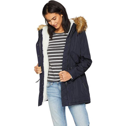 S13 Women's Luxe Canyon Lined Parka with Faux Fur Hood, Navy, X-Small