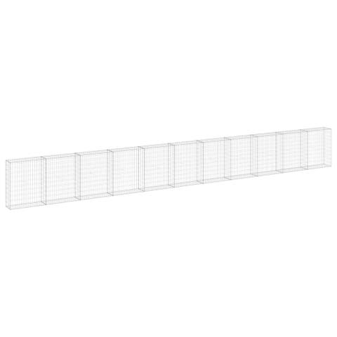 "vidaXL Gabion Wall with Covers Galvanized Steel 354.3""x11.8""x39.4"""