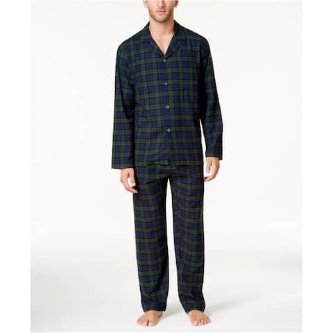 Club Room Mens Flannel Button Down Pajama Shirt