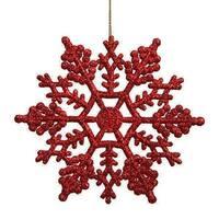 4 in. Club Burgundy Glitter Snowflake Christmas Ornaments, Pack