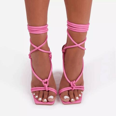 Sandals Women's Lace-Up Plus Size Fashion Photo High Heels