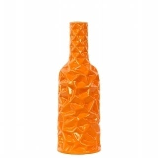 Urban Trends Collection 24439 Ceramic Round Bottle Vase With Wrinkled Sides Small - Orange