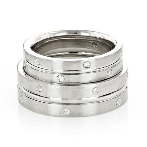 Matching His & Hers Bridal Set Round Diamond Rings Wedding Bands 0.3ctw in 14k Gold by Luxurman