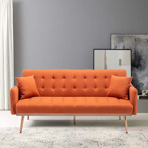 Linen Upholstered Tufted Convertible Sleeper Sofa Bed With Golden Legs