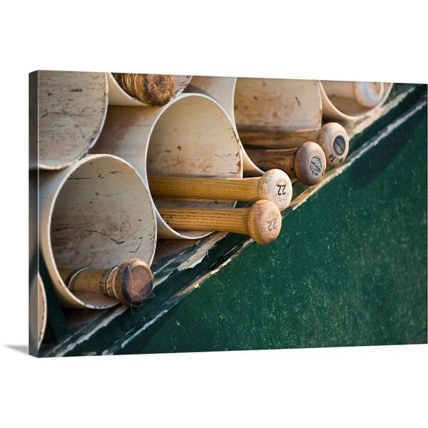 """""""Baseball bats in the dugout"""" Canvas Wall Art"""