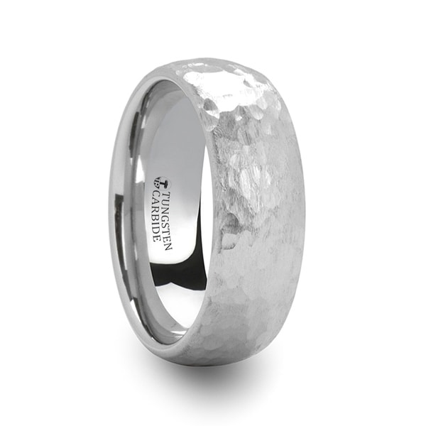 Chandler Domed Hammered Finish White Tungsten Ring
