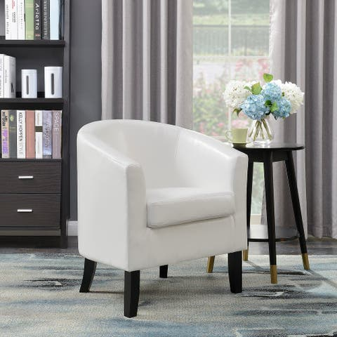 Belleze Club Chair Tub Faux Leather Armchair Seat Living Room, White - standard
