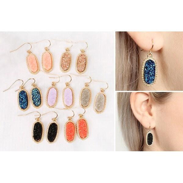 8f75d37cd995f Shop RIAH FASHION Acrylic Stone Druzy Crystal Oval Drop Earrings ...