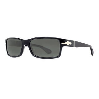 Persol PO 2747S 95/48 Shiny Black/Grey Polarized Rectangular Sunglasses - Shiny Black - 57mm-16mm-140mm