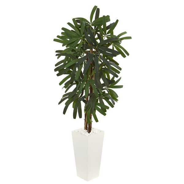 Nearly Natural 5.5' Raphis Palm Artificial Tree in White Tower Planter